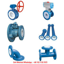 China PFTE Lined Ball valve Butterfly valve check valve  stop valve Fluorine lined pipe fittings for Acid Chemical Tank distributor