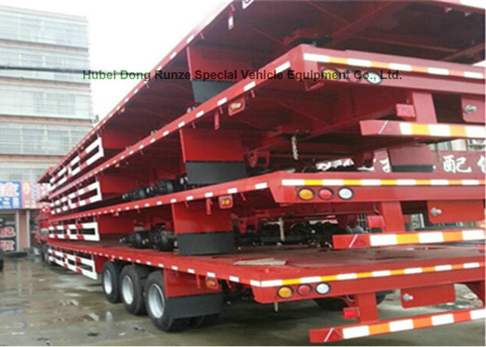 60Ton Flatbe Container Transport Trailer Carry Cargo Flat Vehicle 40ft 20ft Container 12 sets twist locks