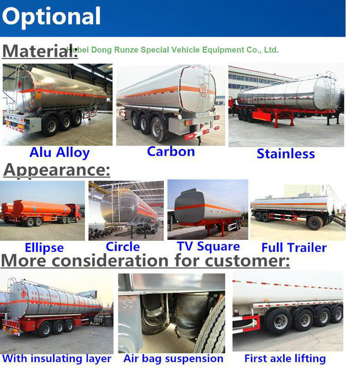 44m3 Aluminum Fuel Semi Trailer  3 Axle For Health Oil Transport  40T- 45Ton