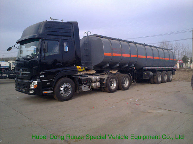 Tri Axles Caustic Soda Chemical Delivery Truck For 30 - 45MT Sodium Hydroxide